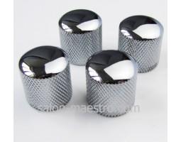 Ручка Потенциометра типа Dome Хром Рифленая для Электро и Бас Гитары
