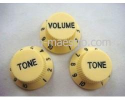 Ручки для потенциометров Fender Strat Style yellow (Tone, Tone, Volume)