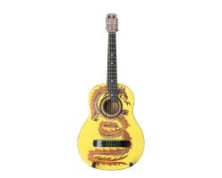 (3320) Гитара 3\4 с Росписью «Дракон» Новые Колки и Струны