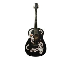 (4596) Гитара Акустическая С Художественной Росписью «Terminator» Новые Колки и Струны